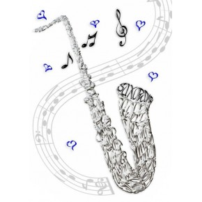 Tarjeta de la celebración saxofón