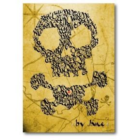 Crani i bandera pirata en un mapa del tresor