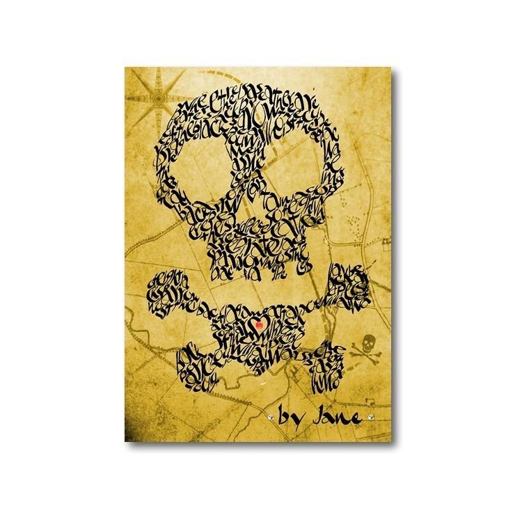 Doodshoofd en gekruiste knekels - schatkaart