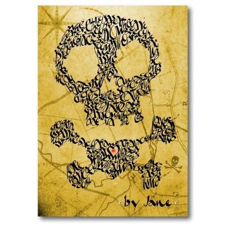 Crâne et os croisés sur une carte au trésor