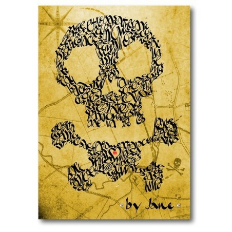 Cráneo y bandera pirata en un mapa del tesoro