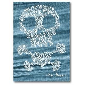 Crâne et os croisés sur Denim
