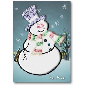 Snemand lykønskningskort