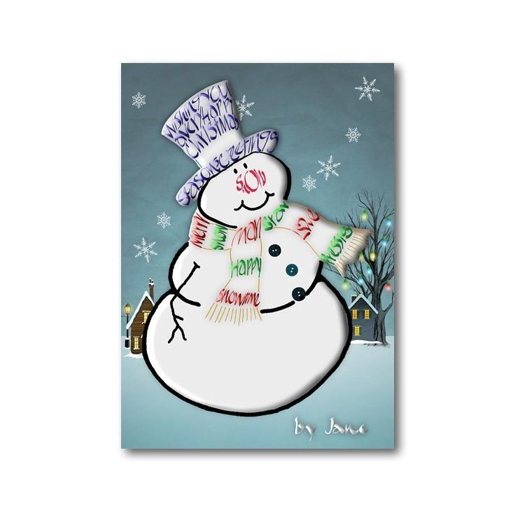 Snögubbe - julkort