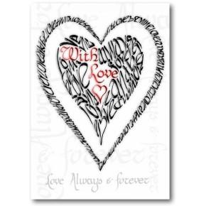 Valentine med kärlek - röd & svart