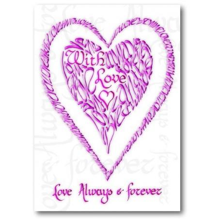 Valentine med kärlek i rosa
