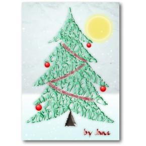 Joulukuusi - kalligrafiakortti