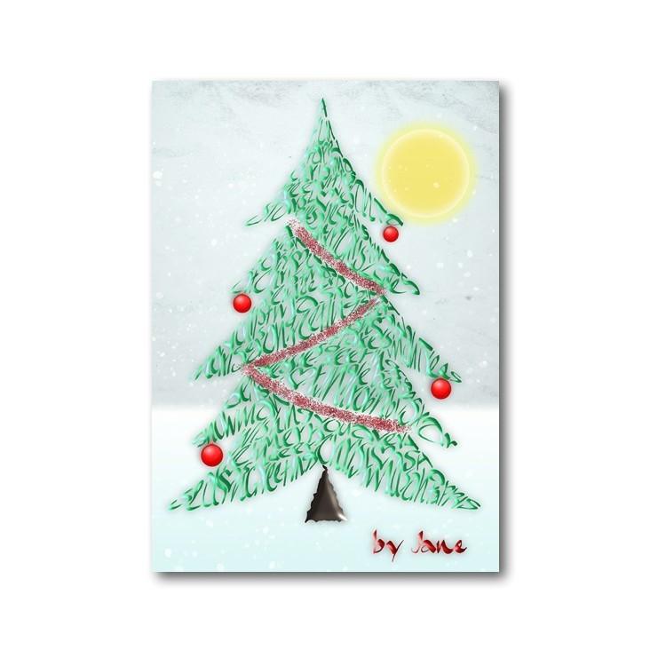 Kerstboom - kalligrafie kaart