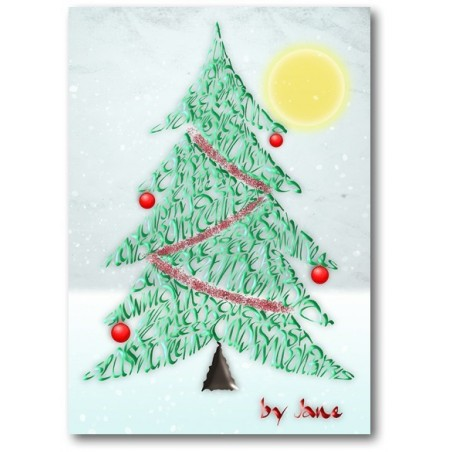Arbre de Noël Carte de Calligraphie