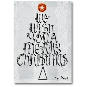 Christmas Wishing Tree Calligraphic Card