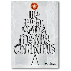 Christmas Wishing Tree Tarjeta caligráfica