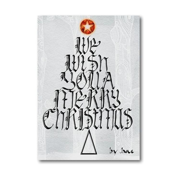 Juleønsker Træ Kalligrafiske Lykønskningskort