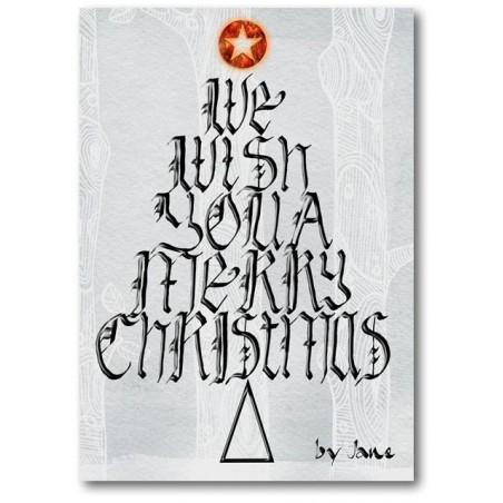 Desexando da árbore de Nadal Cartón caligráfico