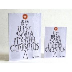 Christmas Wishing Tree Calligraphic Card