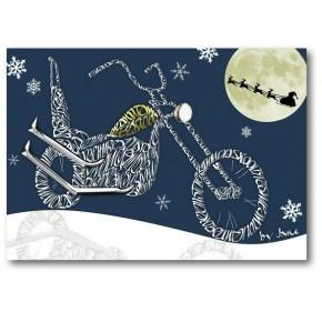Vanhan koulun moottoripyörä - joulukortti