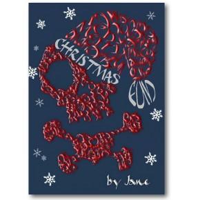 Pirate Skull & Luut & Hat Joulukortti