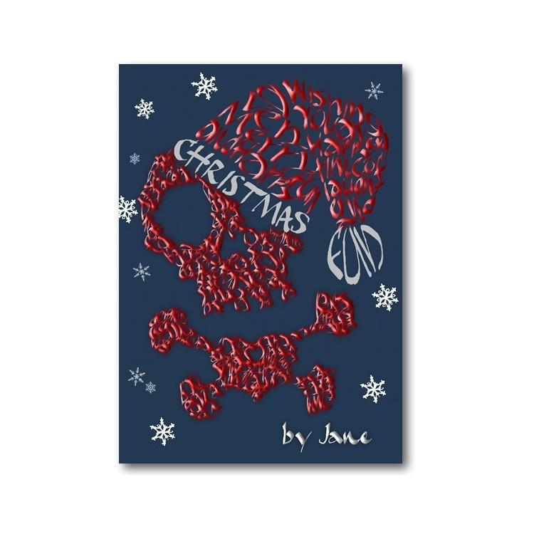 Pirate Skull & Crossbones y tarjeta de Navidad del sombrero