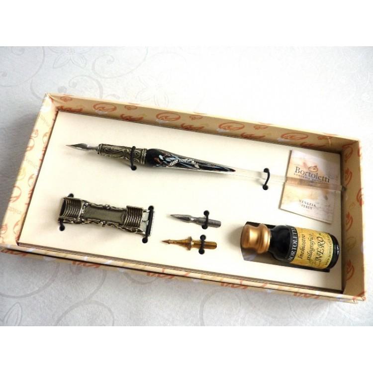 Sølvbladet glas kalligrafipenn med pennestøtte