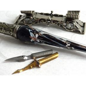 Penna per calligrafia in vetro foglia argento con portapenne