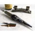 Silver Leaf Glass Calligraphy Pen Set con la penna di riposo