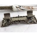 En sølv blad glas kalligrafi pen sæt med pen hvile