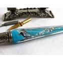Silver Leaf Glass Calligraphy Pen Set With Pen Rest