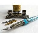 Hoja de plata de cristal Conjunto de lápiz Caligrafía Con La Pluma Rest