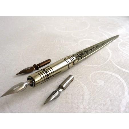 Abridor de pluma de caligrafía e carta