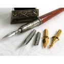 Træ kalligrafi pen og blækhus