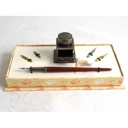 Wooden Calligraphy Dip Pen & Inkwell