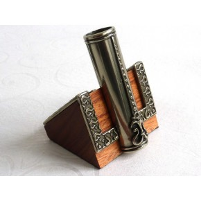 Houten kalligrafie pen, inktpot en pennenhouder