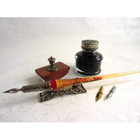 Glass Dip Pen Blotter Inkwell & Pen Rest