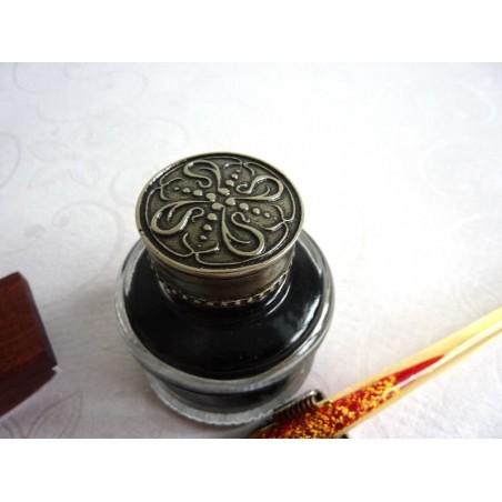 Glass Pen, blotter, inkwell & pen rest