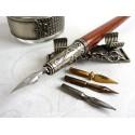 Wooden Calligraphy Dip Pen Inkwell & Pen Holder