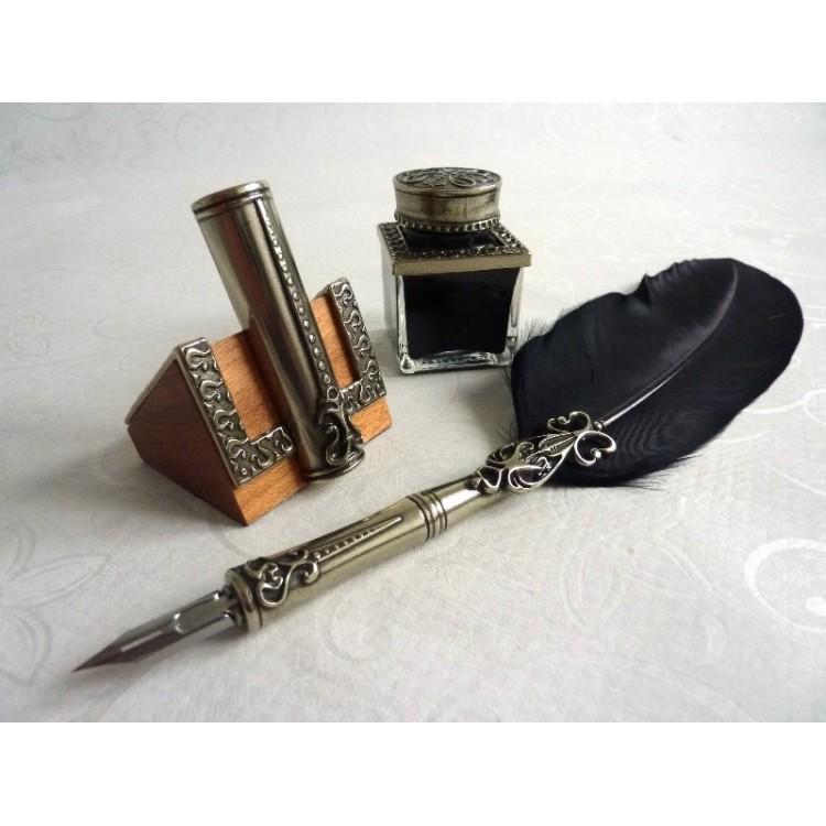 Fjäder Quill Dip Pen Inkwell & Pennhållare