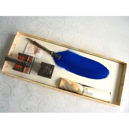 Feather Quill Dip Pen Inktpot & Pen Holder