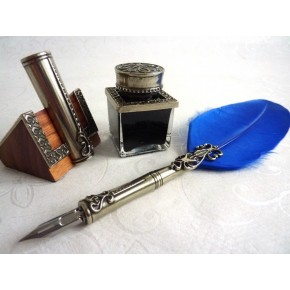 Feather Quill Dip Pen Inkwell e portapenne