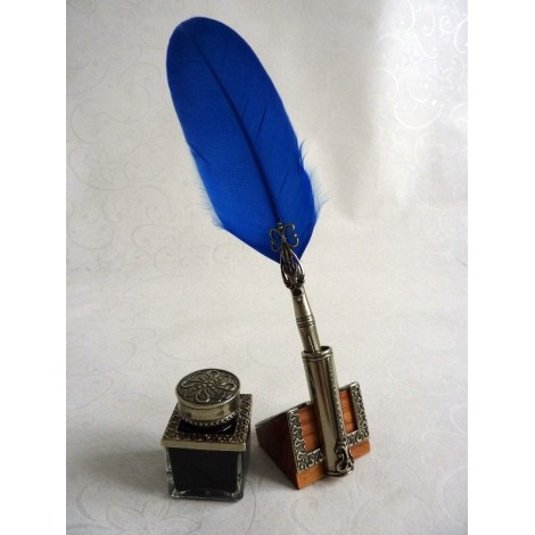 Feather quilla Pen Dip Inkwell & soporte da pena