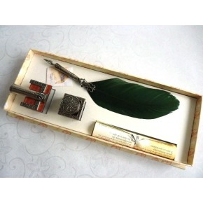 Feather Quill Dip Pen Tintenfass und Federhalter