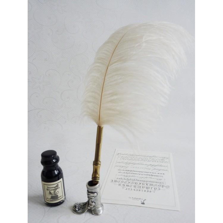 Piuma bianca dello struzzo Dip Penna e inchiostro