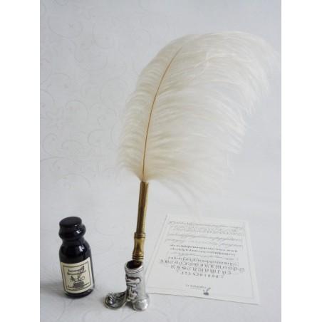 Branca de plumas de avestruz Dip pena e tinta