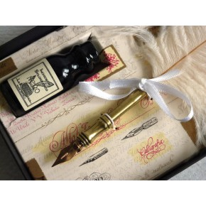 Ostrich feather calligraphy pen - White