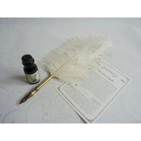 Bolígrafo de caligrafía con pluma de avestruz - Blanco