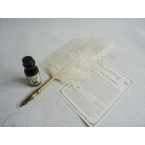 White Ostrich Feather Dip Pen And Ink