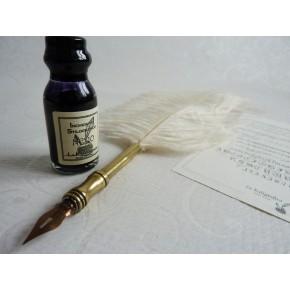 Strutsi sulka kalligrafiakynä - valkoinen