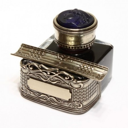 Glass Cameo and Nickel Silver Inkwell