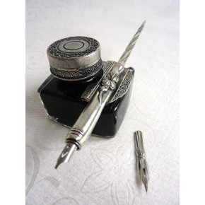 Pewter calligraphy pen and ink bottle