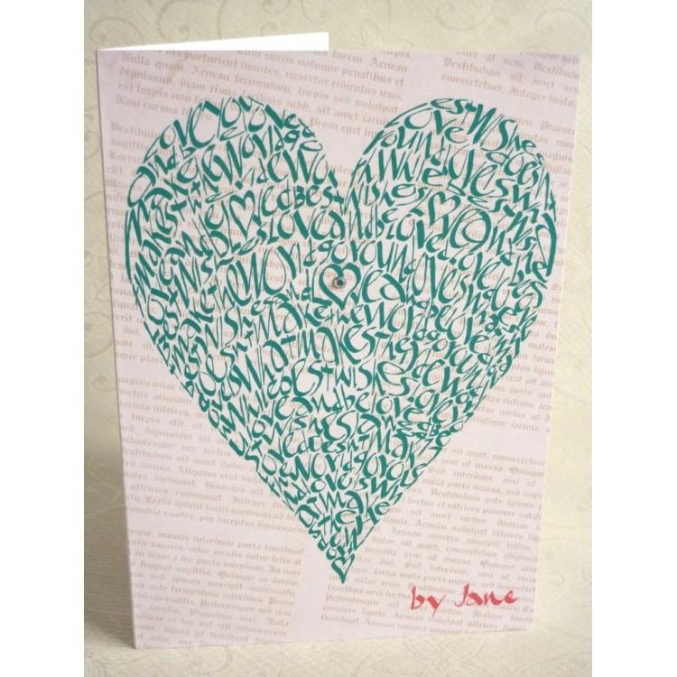 Corazón del amor - verde vintage