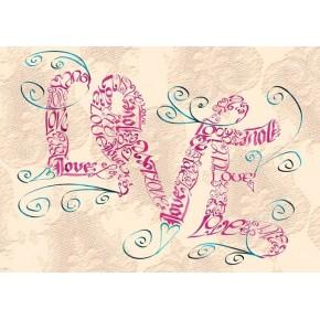 Amour vintage tourbillonne carte