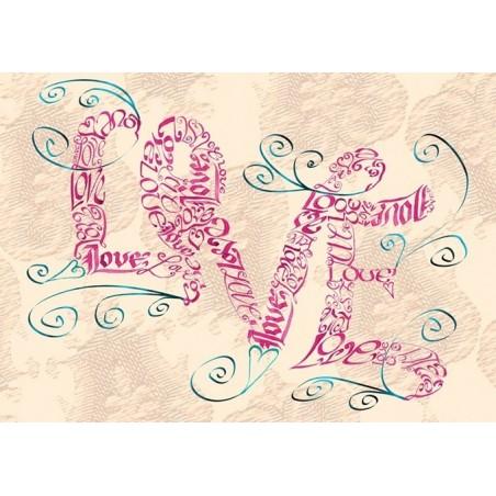 Tappning Kärlek virvlar runt kortet